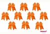 "7"" Big Hair Bows With Ponytail Holder Orange 10 Pack"