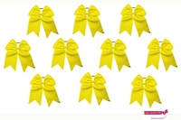 "7"" Big Hair Bows With Ponytail Holder Yellow 10 Pack"
