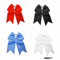 "7"" Hair Bow With Ponytail Holder 4 Pack Basic"