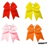 "7"" Hair Bow With Ponytail Holder 4 Pack Warm"