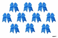"7"" Large Hair Bow With Ponytail Holder Blue 10 Pack"