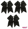 "7"" Large Hair Bow With Ponytail Holder 3 Pack Black"