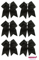 "7"" Large Hair Bow With Ponytail Holder 6 Pack Black"