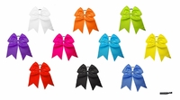 "7"" Large Hair Bow With Ponytail Holder Assorted 10 Pack"