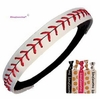 Baseball Headband White/Red With Ties