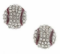 Baseball Crystal Rhinestone Post Earrings