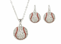 Baseball Rhinestone Necklace and Hook Earring Set