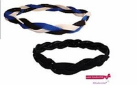 Braided Headbands 2 Pack 1 Blue/White/Black and 1 Black