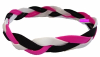 Braided Headband No Slip Pink Black White