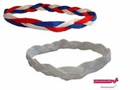 Braided Headbands  2 Pack 1 Red/White/Blue and 1 White