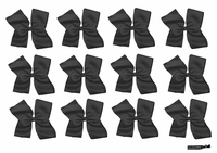 DOUBLE Clip Bow Black 12 Pack