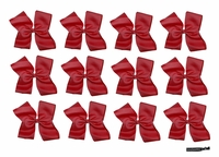DOUBLE Clip Bow Burgundy 12 Pack