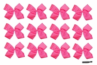 DOUBLE Clip Bow Neon Pink 12 Pack