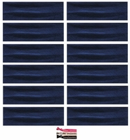 Cotton Headbands 12 Pack Navy