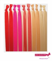 Headbands Fold Over Elastic 10 Pack Red Ombre