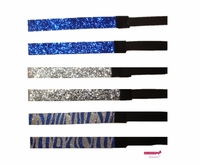 Glitter Headbands Blue and Silver Zebra 6 Pack