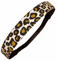 Glitter Headband Cheetah White Black Gold