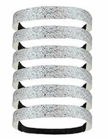 Glitter Headbands 6 Pack Silver