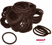 Hair Elastics 100 Pack Brown