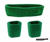 Headband and Wristbands 3 Pack Green