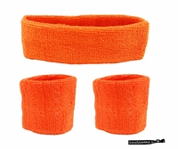 Headband and Wristbands 3 Pack Orange