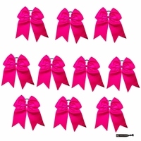 "JUMBO 8"" HOT PINK BOWS PACK OF 10"