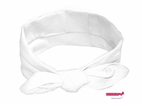 Knotted Cotton Bow Headband White