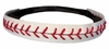 Leather Baseball Seam Stitch Headband White Red