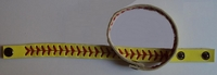 Leather Softball Seam Stitch Bracelet - Yellow