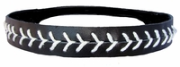 Leather Softball Seam Stitch Headband Black White