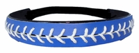 Leather Softball Seam Stitch Headband Blue White