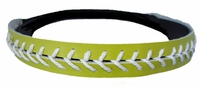 Leather Softball Seam Stitch Headband Lime White
