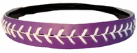 Leather Softball Seam Stitch Headband Purple White