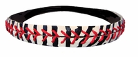 Leather Softball Seam Stitch Headband Zebra Black White