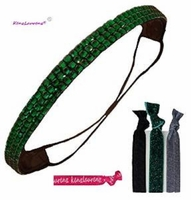 Rhinestone Headband Green With Hair Ties