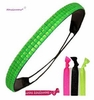 Rhinestone Headband Neon Green With Hair Ties