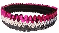Sequin Headbands Black and Silver and Pink