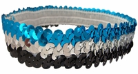 Sequin Headbands Black and Silver and Teal