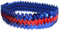 Sequin Headbands Blue and Red