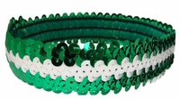 Sequin Headbands Green and White
