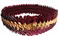 Sequin Headbands Maroon and Gold