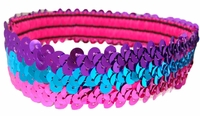 Sequin Headbands Pink and Teal and Purple