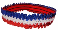 Sequin Headbands Red White and Blue