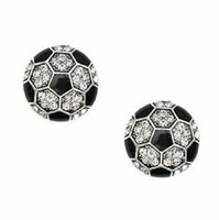 Soccer Crystal Rhinestone Post Earrings