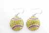 Softball Crystal Rhinestone Hook Earrings