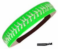 Softball Headband Neon Green/White