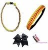 Softball Set:  Headband, Titanium Necklace, Cheer Bow, and Hair Ties