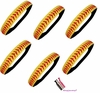 Softball Headbands 24 Pack Yellow/Red With Ties