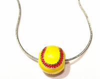 Softball Necklace Enamel Ball