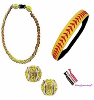 Softball Set:  Headband, Titanium Necklace, Post Earrings, and Hair Ties